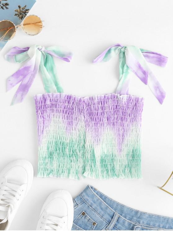outfit ZAFUL Dip Dye Smocked Crop Tank Top - MULTI XL
