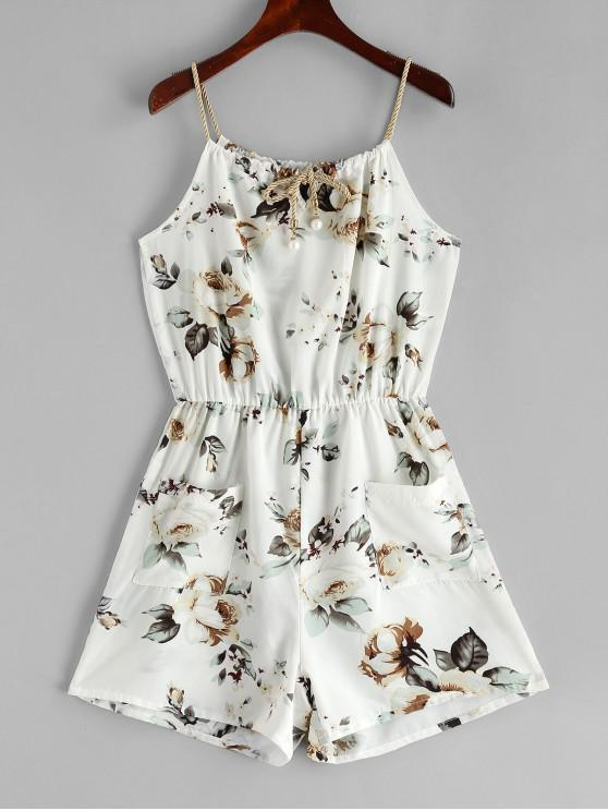 sale ZAFUL Pockets Floral Print Braided Straps Romper - WHITE L