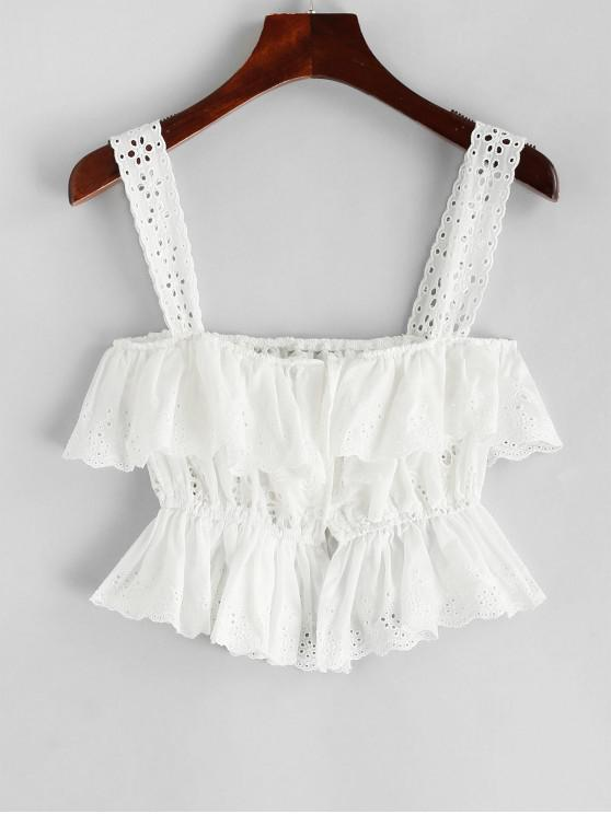 outfit Ruffles Eyelet Button Up Tank Top - WHITE M