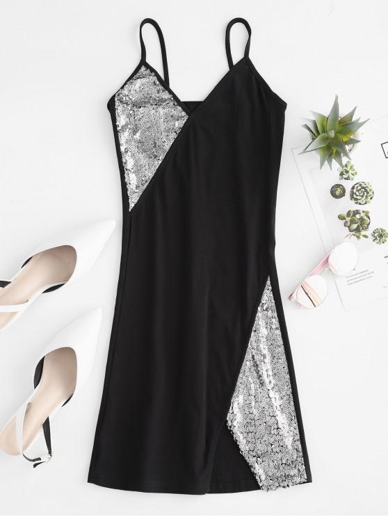 hot Notched Sequins Cami Mini Dress - BLACK S