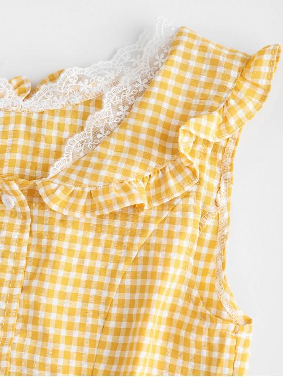 robe Vichy Boutonnée Mini À M En VolantsJaune b7gvfY6y