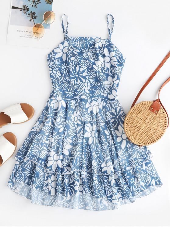fancy Flower Print Knotted Back Overlay Dress - SILK BLUE L