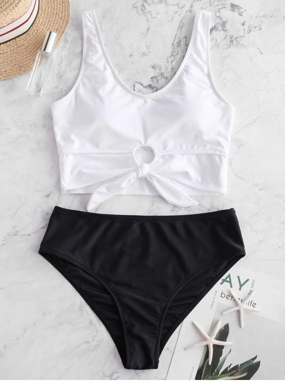 womens ZAFUL Knot Mix and Match Tankini Swimsuit - BLACK XL