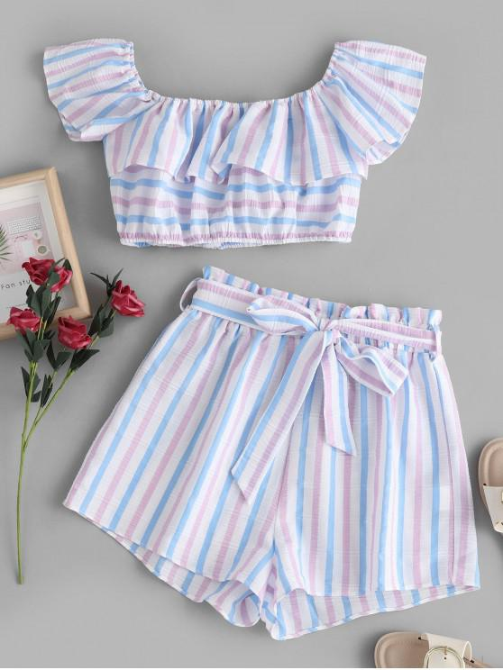 ladies ZAFUL American Flag Stripes Off Shoulder Two Pieces Set - MULTI-A L
