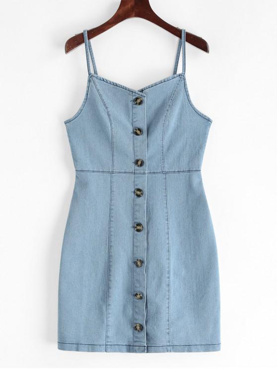 鈕扣鞘牛仔布Cami連衣裙 - 牛仔褲藍色 M