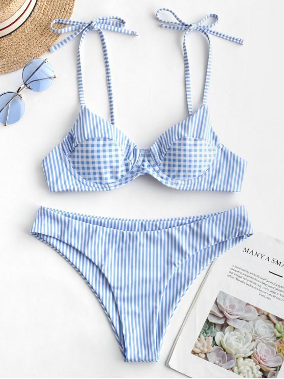 shops ZAFUL Striped Plaid Tie Shoulder Push Up Bikini Swimsuit - MULTI-A S