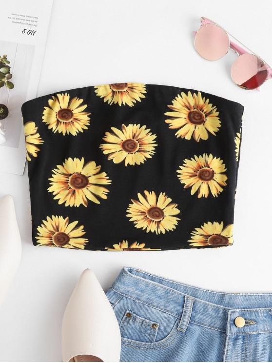 trendy ZAFUL Sunflower Print Crop Strapless Top - BLACK L