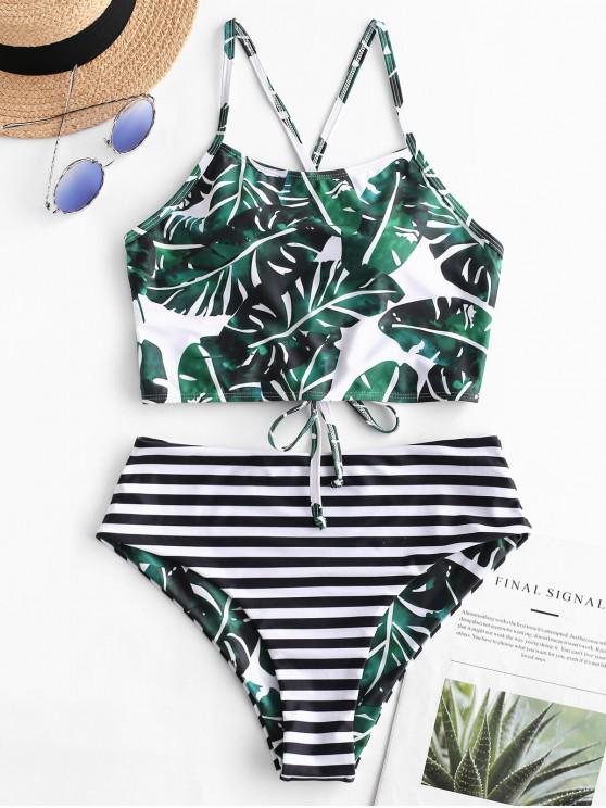 outfits ZAFUL Reversible Palm Striped Lace Up Tankini Swimsuit - MULTI-A XL