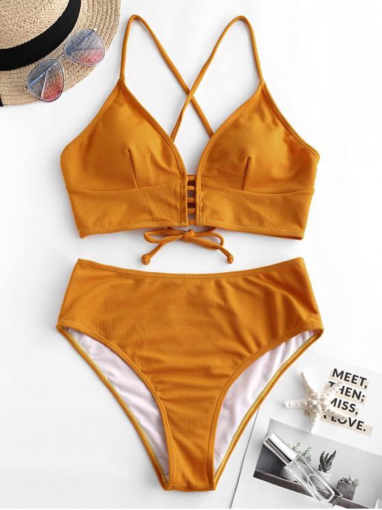 sale ZAFUL Textured Crisscross High Cut Tankini Swimsuit - ORANGE GOLD L