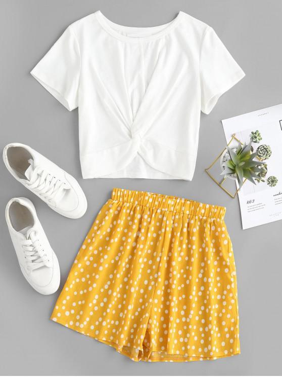 buy ZAFUL Twist Crop Top and Polka Dot Print Shorts Set - MULTI M