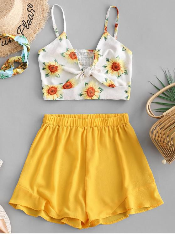 trendy Smocked Knotted Sunflower Top And Shorts Set - YELLOW L
