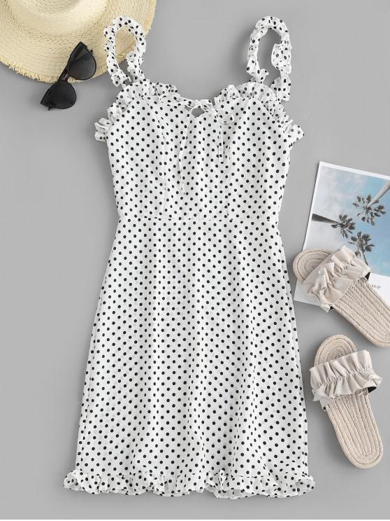 lady Smocked Polka Dot Ruffle Straps Dress - WHITE S