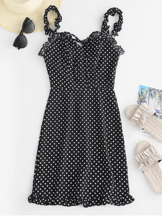 fancy Smocked Polka Dot Ruffle Straps Dress - BLACK M