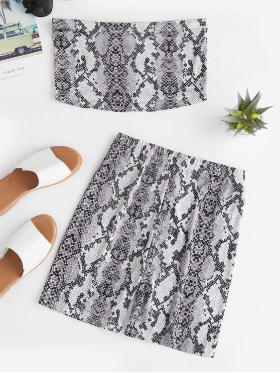 Conjunto de top y pantalones cortos sin tirantes con estampado de piel de serpiente - Multicolor-A M