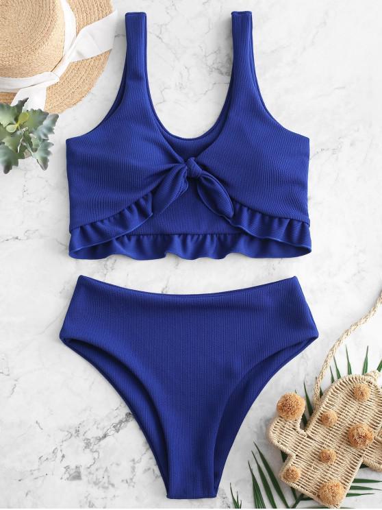 fashion ZAFUL Ribbed Tied Ruffle Tankini Swimsuit - COBALT BLUE 2XL
