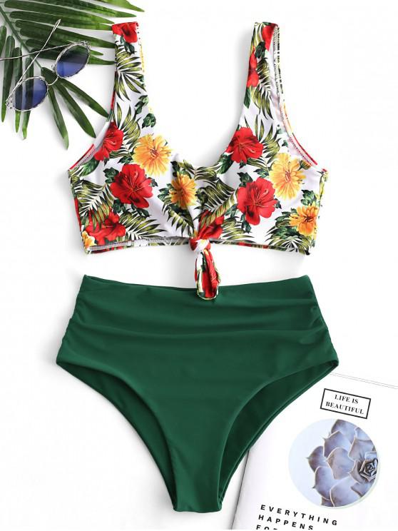 women ZAFUL Floral Knotted Tummy Control Tankini Swimsuit - MULTI-A S