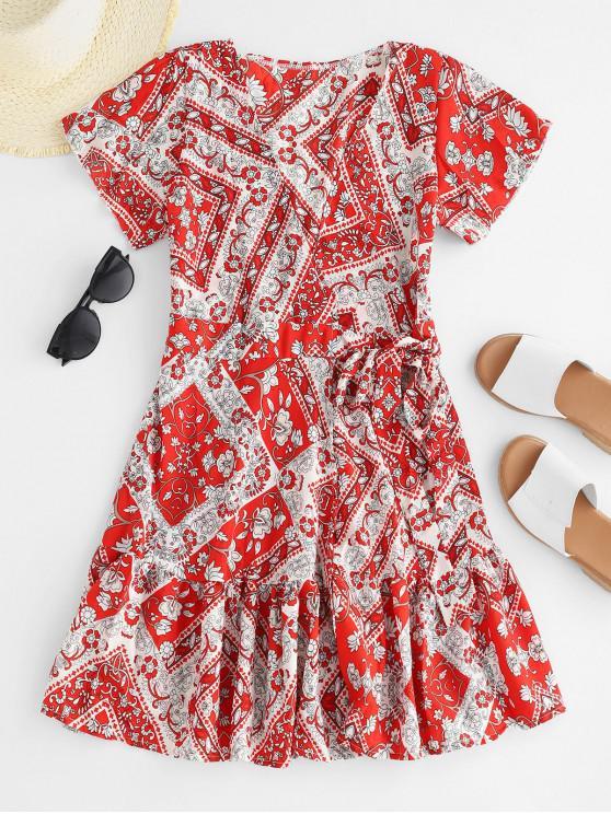 Mini Wrap Dress con stampa floreale e orlo arricciato - Rosso Mollissima M