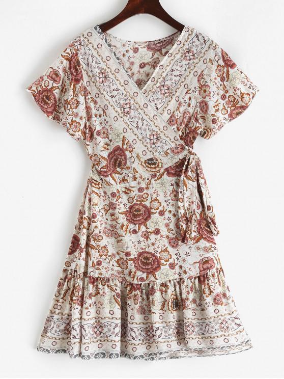 shop V Neck Ruffles Floral Print Wrap Dress - LIPSTICK PINK L