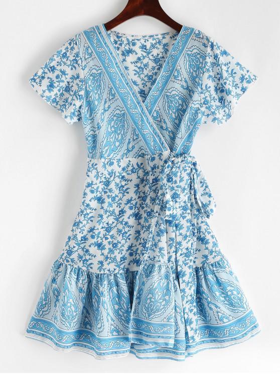 sale V Neck Ruffles Floral Print Wrap Dress - CRYSTAL BLUE L