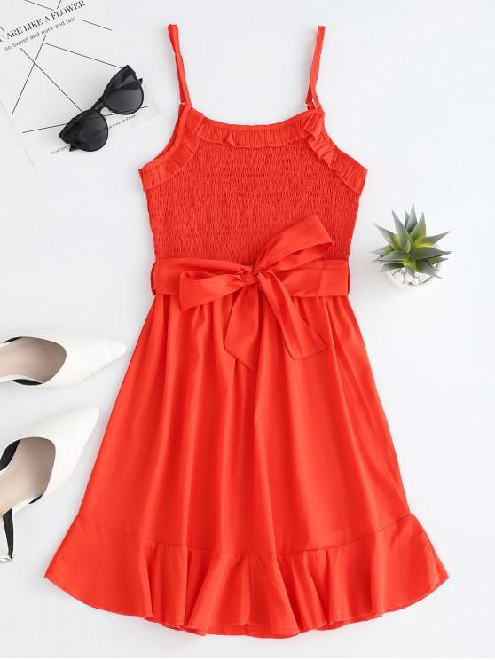 Camicia con risvolto con smock e cintura - Rosso Mollissima L