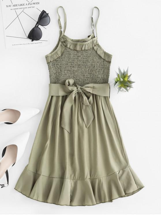 fashion Ruffle Trim Smocked Belted Cami Dress - CAMOUFLAGE GREEN M