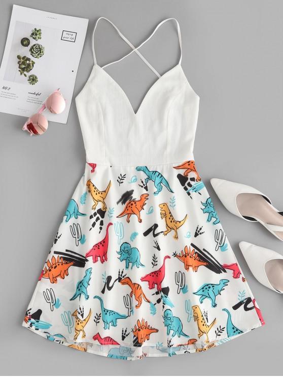 women's Dinosaur Print Backless Flared Cami Dress - WHITE S
