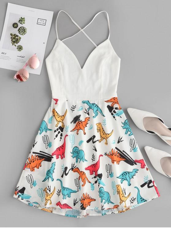 buy Dinosaur Print Backless Flared Cami Dress - WHITE M