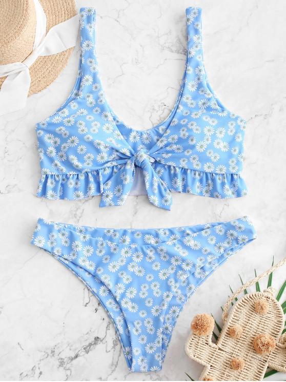 trendy ZAFUL Daisy Ruffle Plunging Bikini Swimwear - MULTI-A S