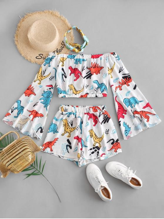 new Off Shoulder Flare Sleeve Dinosaur Top And Shorts Set - WHITE S
