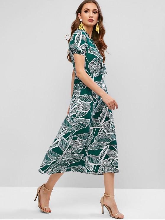 ladies Leaves Print Knotted A Line Maxi Dress - SEA TURTLE GREEN L