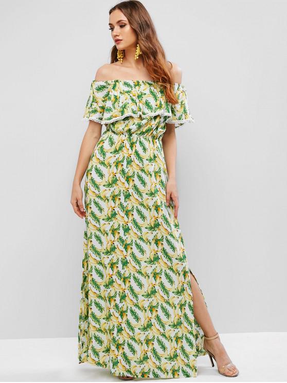Maxi vestito con spalle scoperte e stampa a banana - Multi Colori-A M