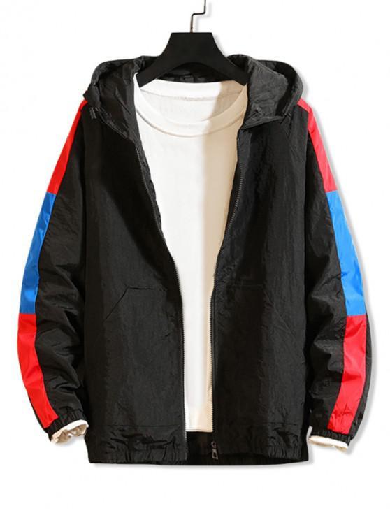 Chaqueta con capucha y mangas raglán empalmadas en color block - Negro XS