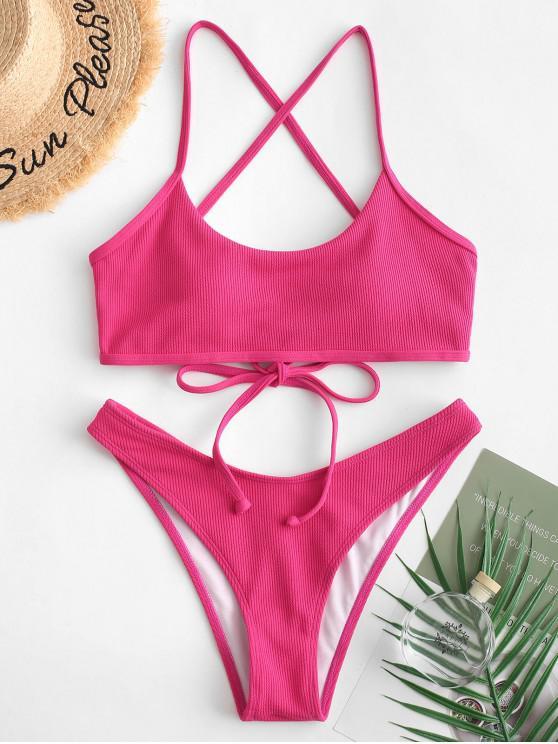 sale ZAFUL Ribbed Lace-up High Leg Bikini Swimsuit - ROSE RED M