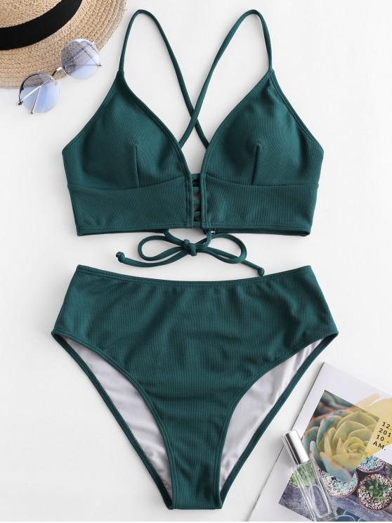 women ZAFUL Textured Crisscross High Cut Tankini Swimsuit - DARK GREEN M