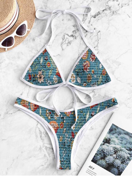 latest ZAFUL Contrast Piping Floral Halter Smocked Bikini Swimsuit - DARK TURQUOISE S