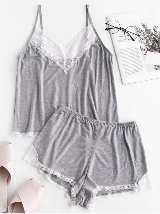 womens Marled Lace Trim Short Pajama Set - GRAY CLOUD S