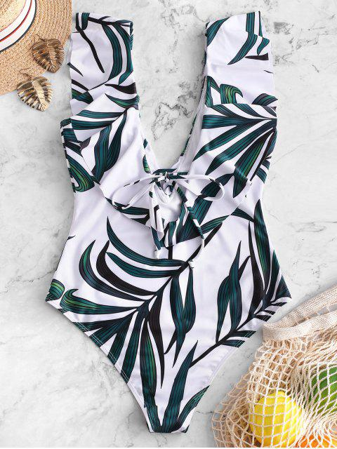 women ZAFUL Leaf Print Ruffle Plunging Swimsuit - MULTI-A S Mobile