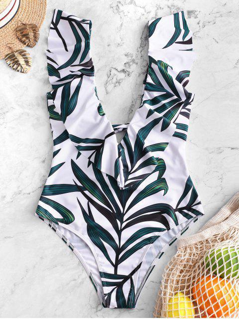 shop ZAFUL Leaf Print Ruffle Plunging Swimsuit - MULTI-A XL Mobile