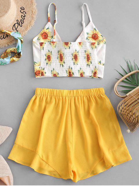 fancy Smocked Knotted Sunflower Top And Shorts Set - YELLOW M Mobile