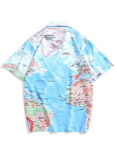 outfit World Map Graphic Print Short Sleeves Button Shirt - DEEP SKY BLUE XL Mobile