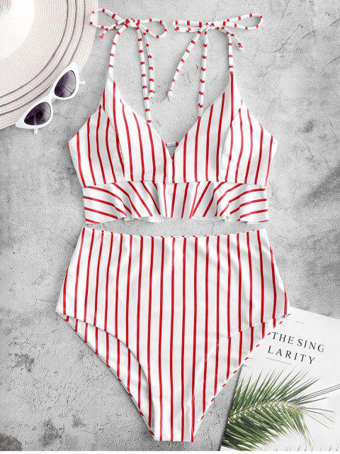 ZAFUL Striped Ruffle Lace Up Tie Hombro Tankini Traje de baño - Multicolor-A M Mobile