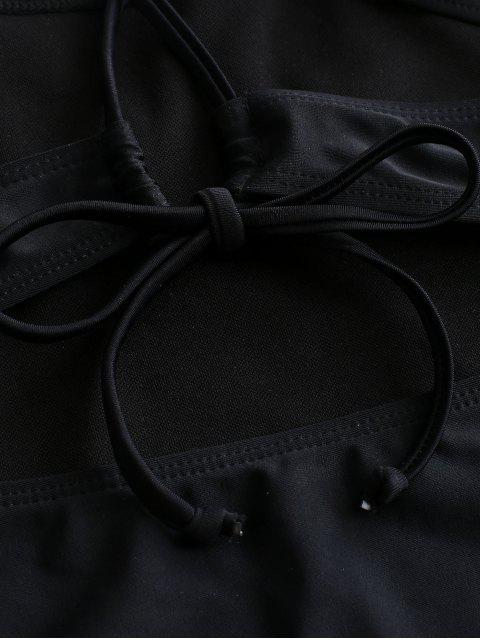 unique ZAFUL Cut Out Criss Cross One-piece Swimsuit - BLACK S Mobile