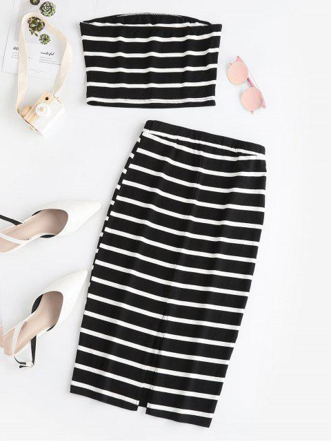 buy ZAFUL Striped Bandeau Top And Slit Skirt Set - BLACK XL Mobile