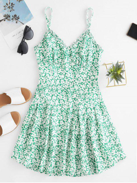 chic ZAFUL Tiny Floral Print Knot Front Cut Out Mini Dress - LIGHT SEA GREEN M Mobile