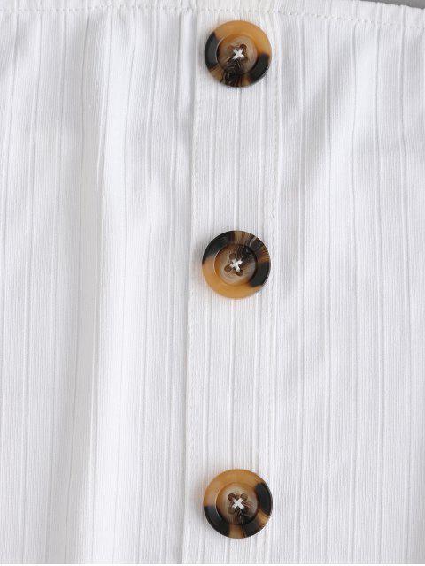 Top a Fascia a Costine con Bottoni di ZAFUL - Bianca XL Mobile