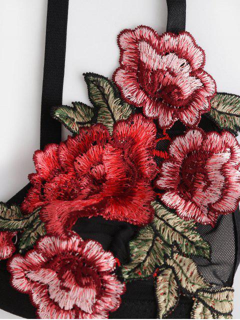 Top Cami Barriga de Fora Floral com Costa Aberta Cortado - Preto M Mobile