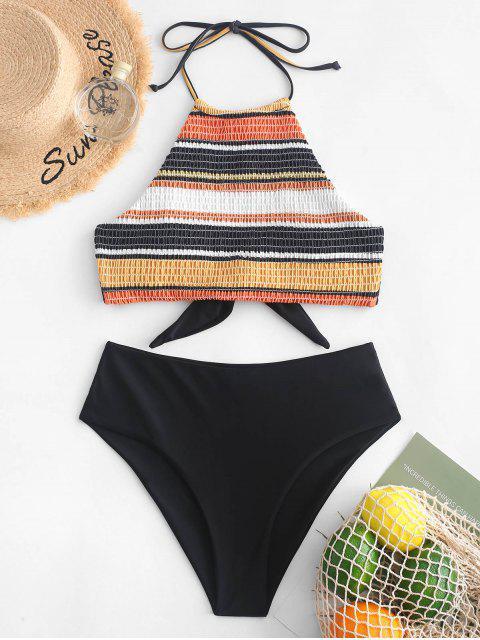 new ZAFUL Striped Halter Smocked Tankini Swimsuit - MULTI-A S Mobile