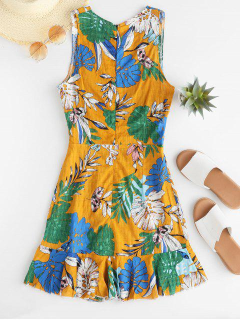 latest Leaves Print Low Cut Sleeveless Dress - GOLDENROD M Mobile