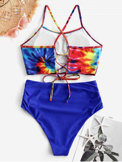 ZAFUL Traje de baño Tankini con estampado teñido en espiral y cruzado con frunces fruncidos - Azul Cobalto XL Mobile