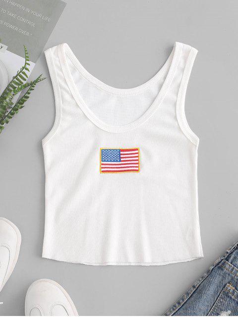 Geripptes Besticktes Tanktop mit Amerikanischer Flagge - Weiß M Mobile